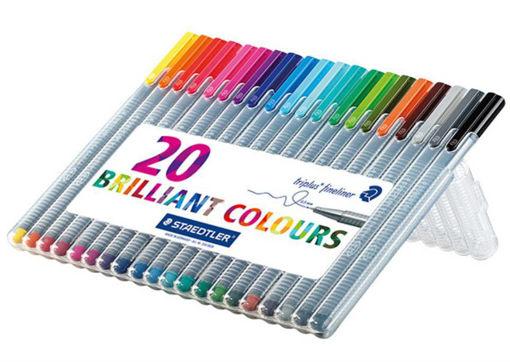 صورة اقلام استدلر خط رفيع بشكل ثلاثي 20 لون مقاس 0.3
