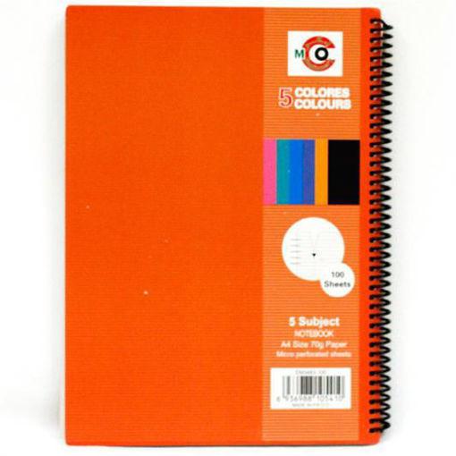صورة دفتر سلك عربي 100  ورقة A4 – مقسم 5 مواضيع