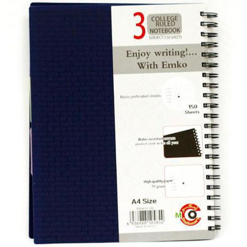 صورة دفتر سلك عربي 150 ورقة A4 – مقسم3 مواضيع